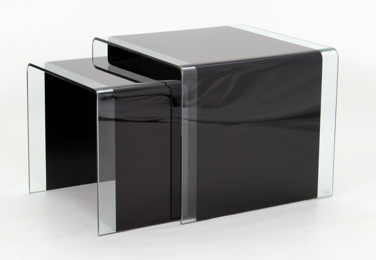 Curved black glass coffee table lamp table nest of tables for Black and white glass coffee table