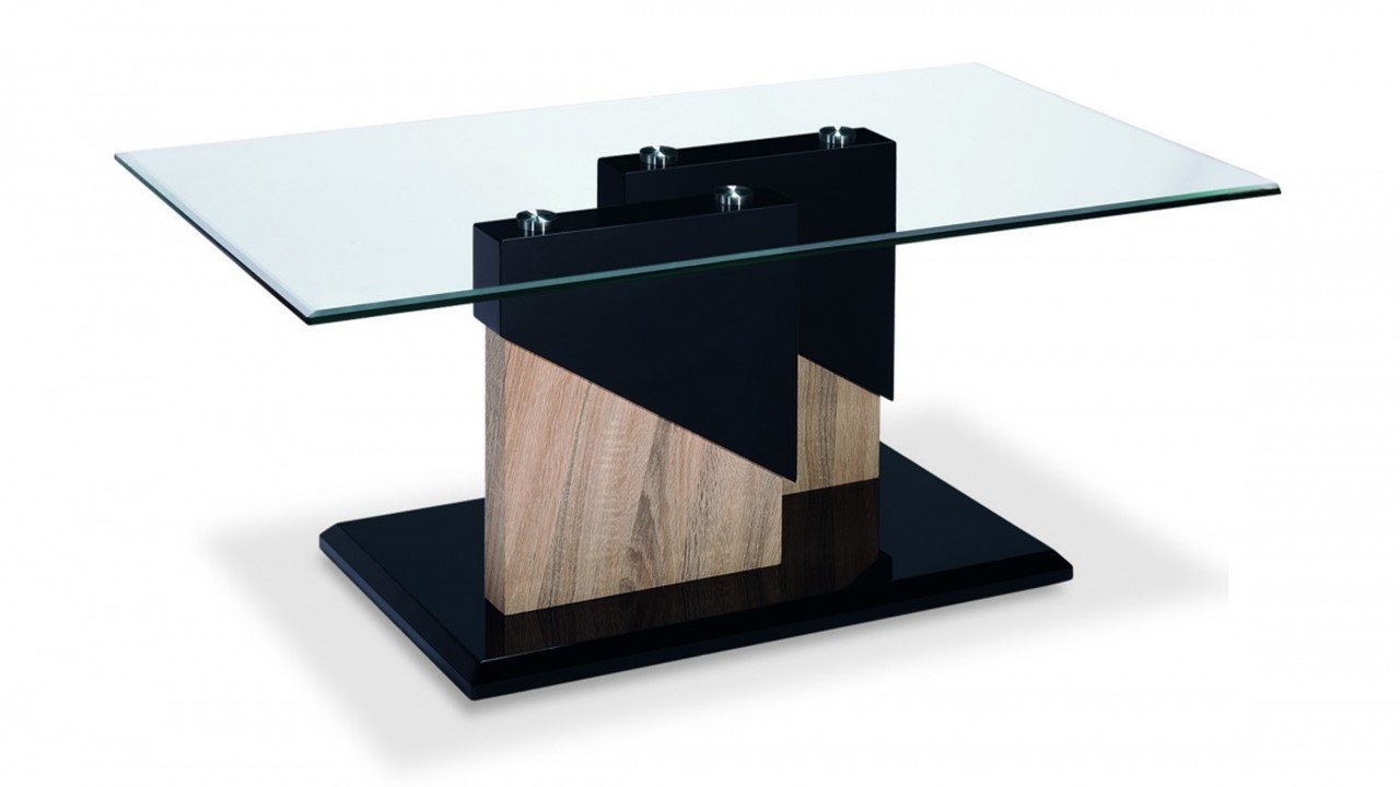 Glass Black High Gloss Wood Veneer Coffee Table Homegenies