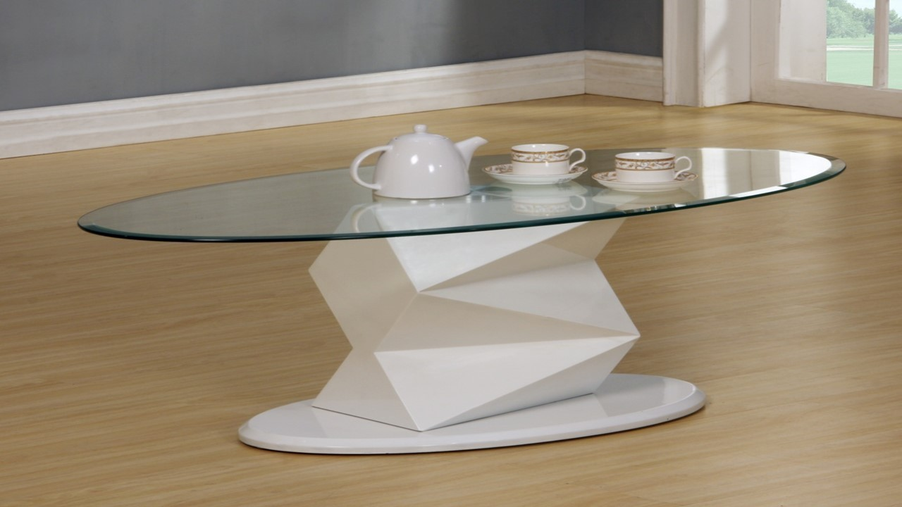 White High Gloss Glass Coffee Side Console Table Homegenies