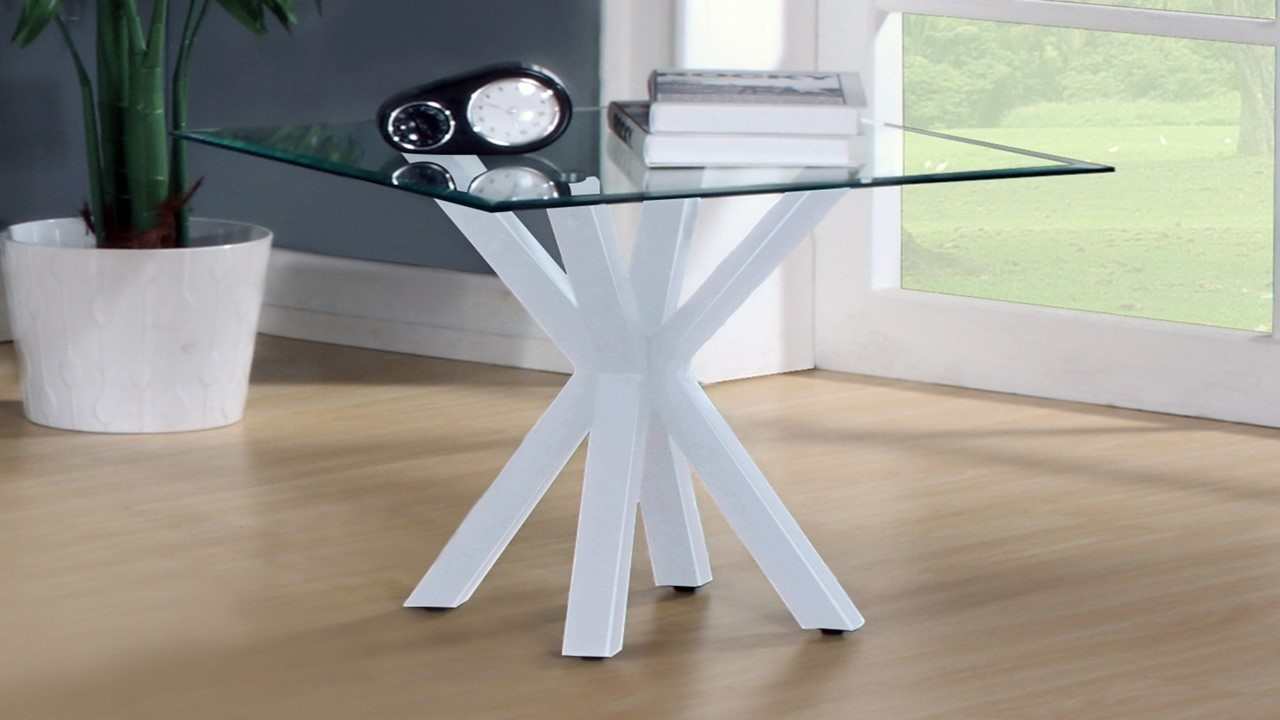 White high gloss clear glass coffee side console table for Side lamp table