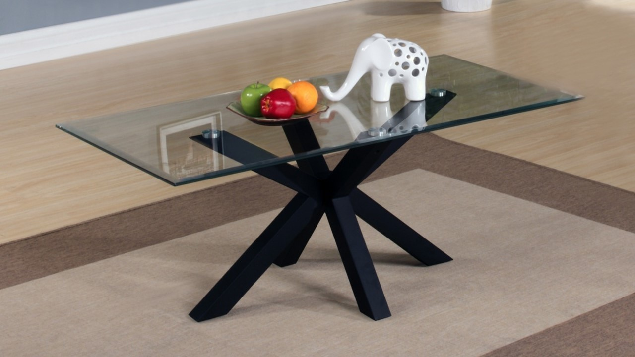 Black Glass Side Table: Black High Gloss Clear Glass Coffee, Side, Console, Table