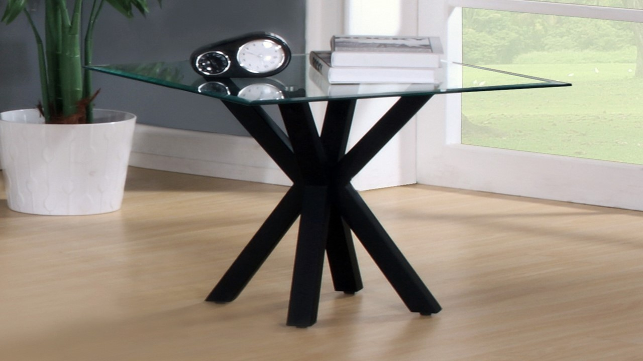 Black High Gloss Clear Glass Coffee, Side, Console, Table
