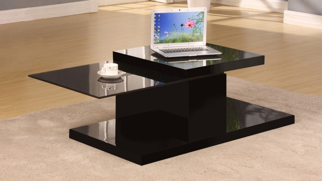 Rotating Black High Gloss Glass Coffee Table Homegenies