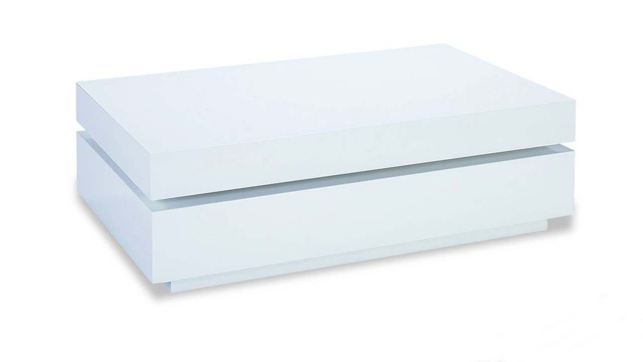 Rectangular White High Gloss Coffee Table Homegenies