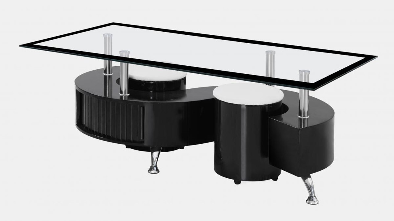 ... S Shaped Glass Black High Gloss Coffee Table