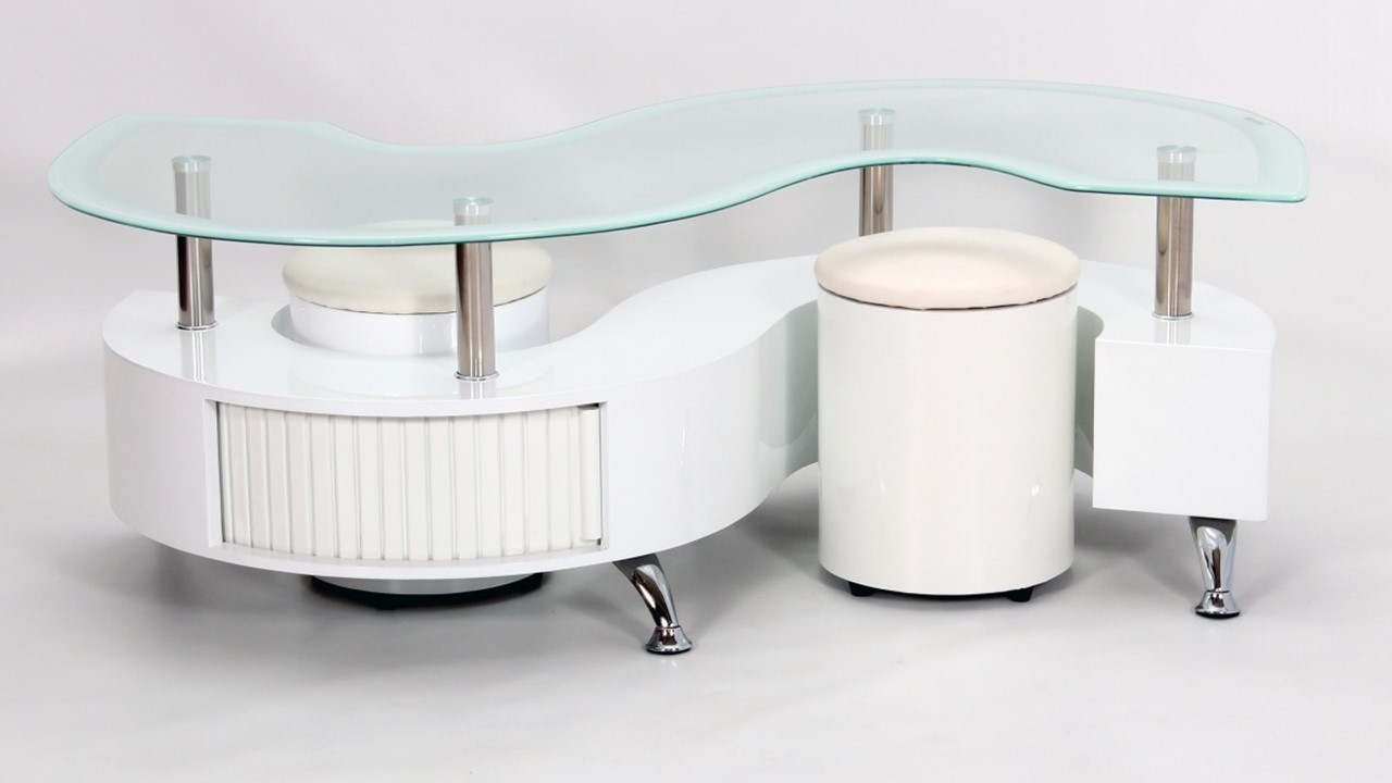 S Shaped Coffee Table White Boarder S Shape Coffee Table High Gloss Homegenies