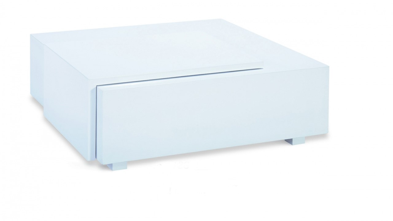 White High Gloss Coffee Table With Drawer Homegenies