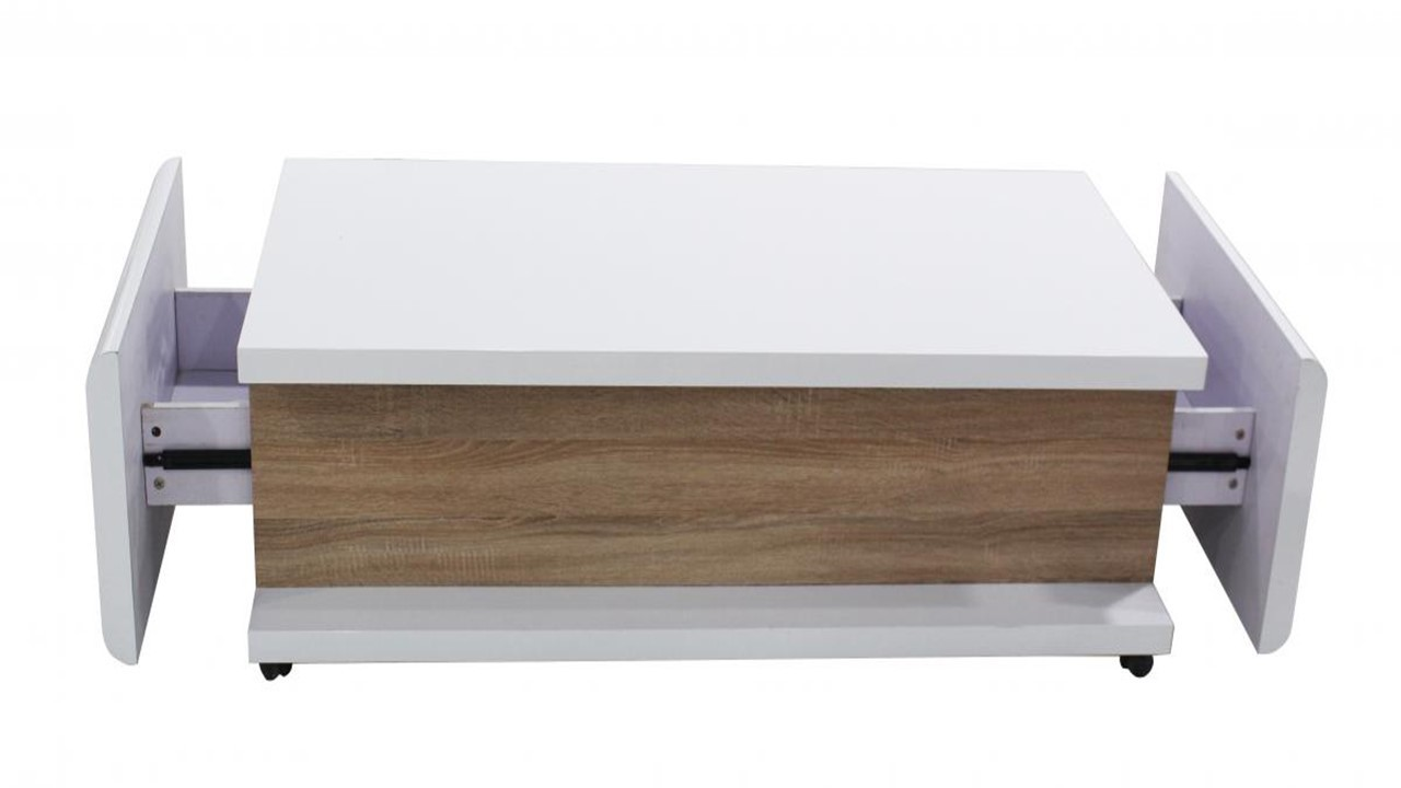 white high gloss coffee table with wood veneer - homegenies