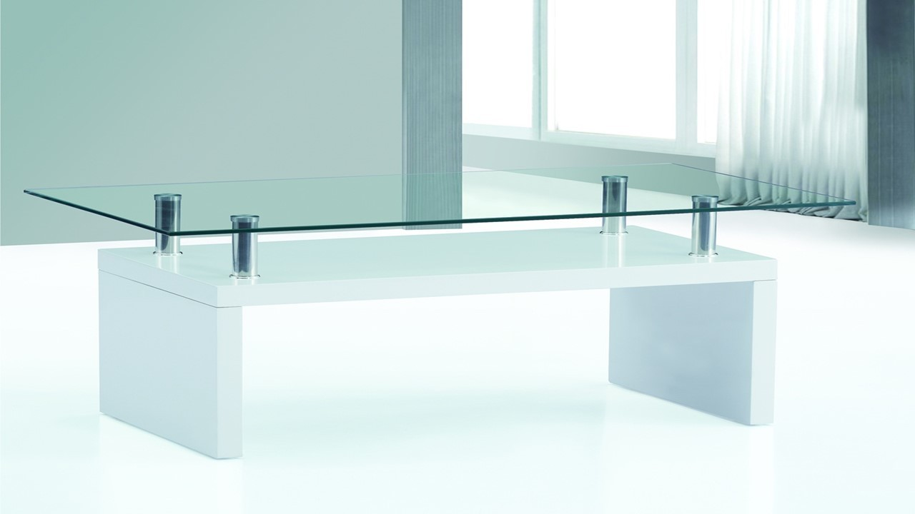 White high gloss glass top coffee table homegenies for White and glass coffee table