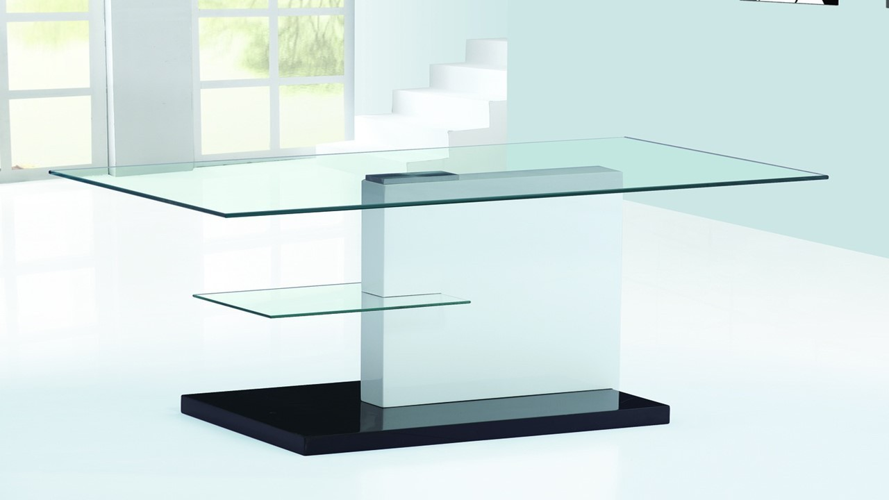 White and black high gloss glass coffee table homegenies for Black and white glass coffee table