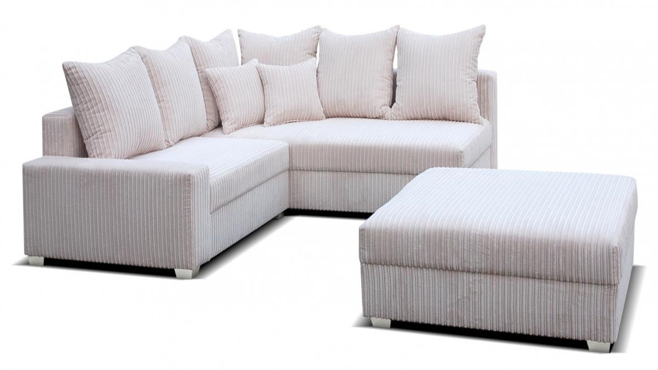 corner cord fabric sofa and footstool homegenies. Black Bedroom Furniture Sets. Home Design Ideas