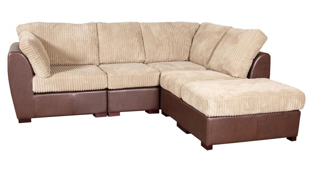cord fabric faux leather corner sofa homegenies