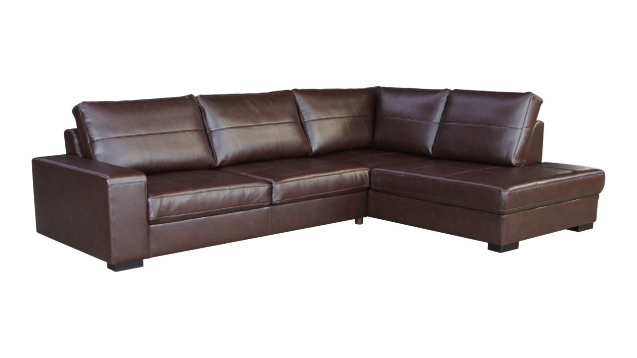 Leather corner sofa in brown or black homegenies for Black corner sofa