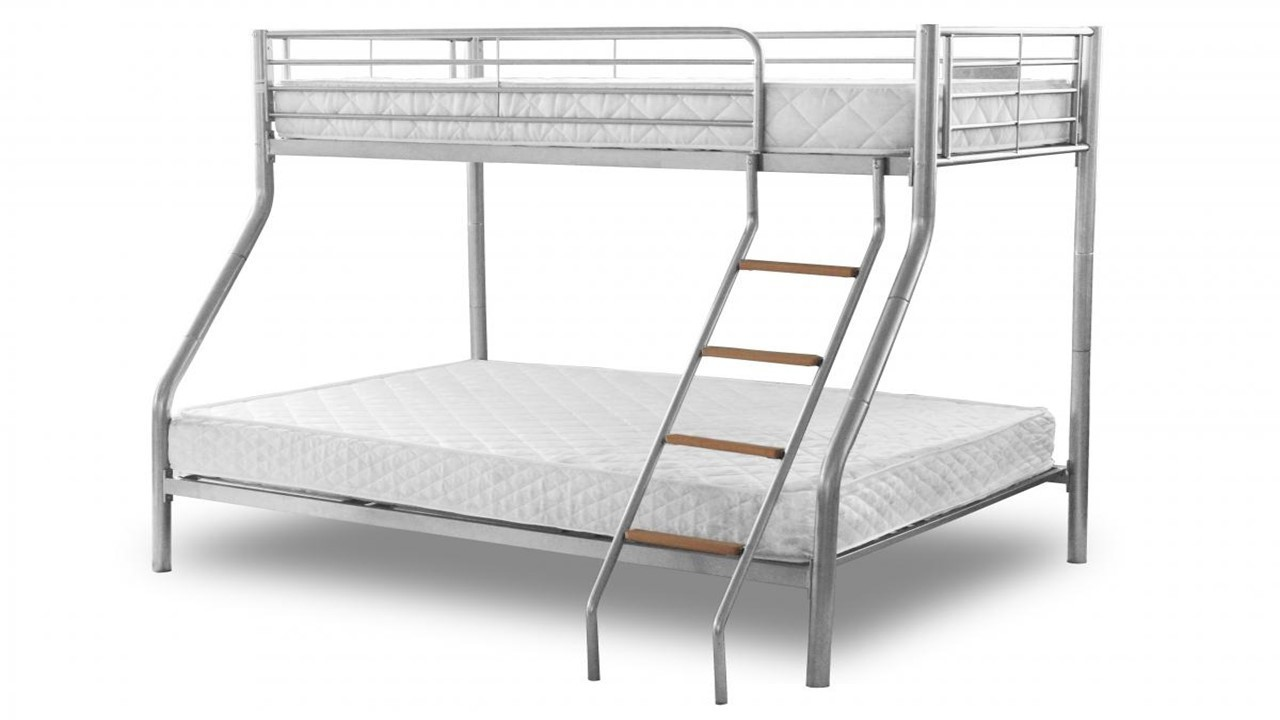 Metal bunk beds homegenies for Bunk bed with double on bottom