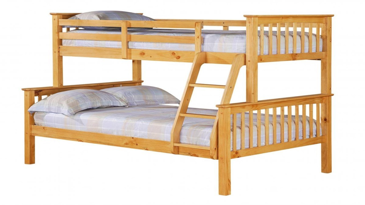 Single top double bottom pine bunk bed homegenies for Single bunk bed