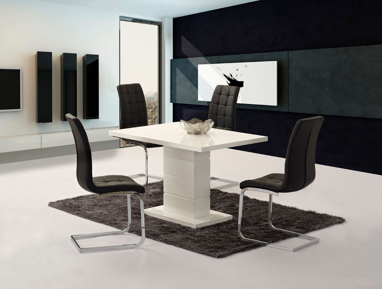 White high gloss dining set and 6 black chairs homegenies for Black dining sets with 6 chairs