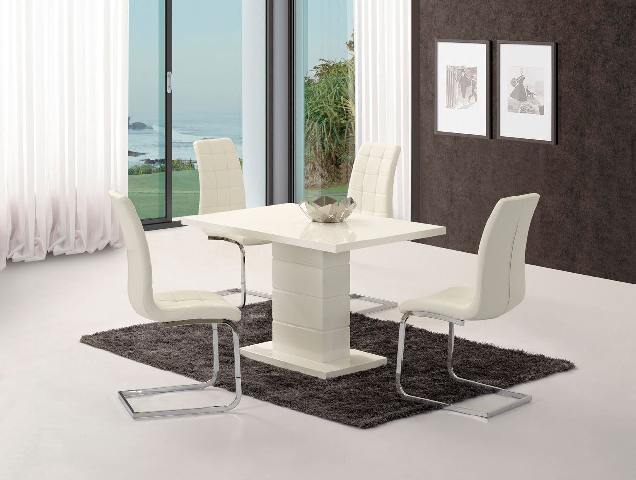 White high gloss dining table set with 6 white chairs for White high gloss dining table