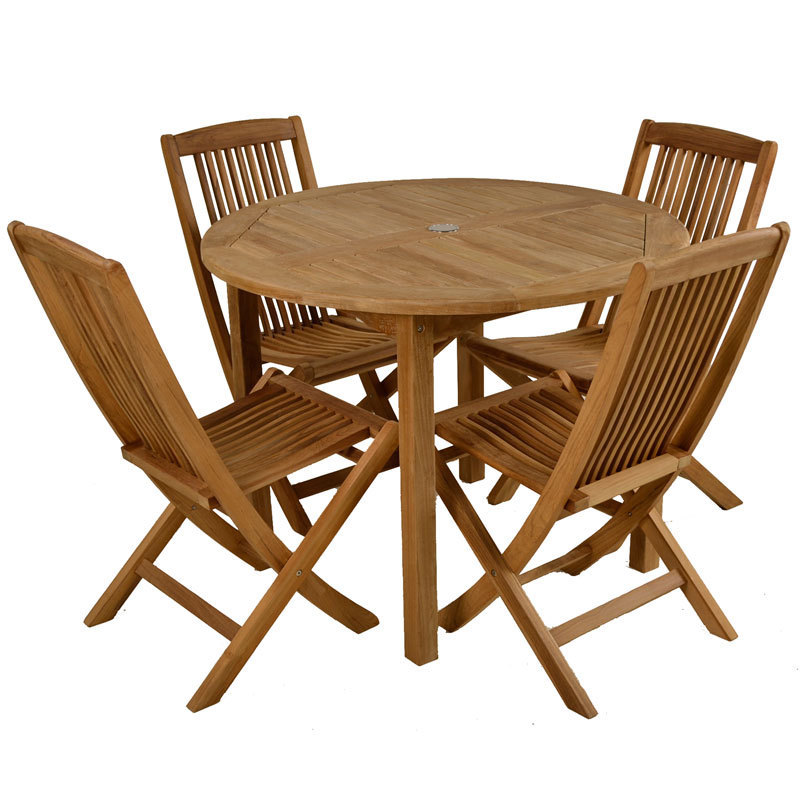 Round teak 4 seater garden table and chairs homegenies for 12 seater wooden outdoor table