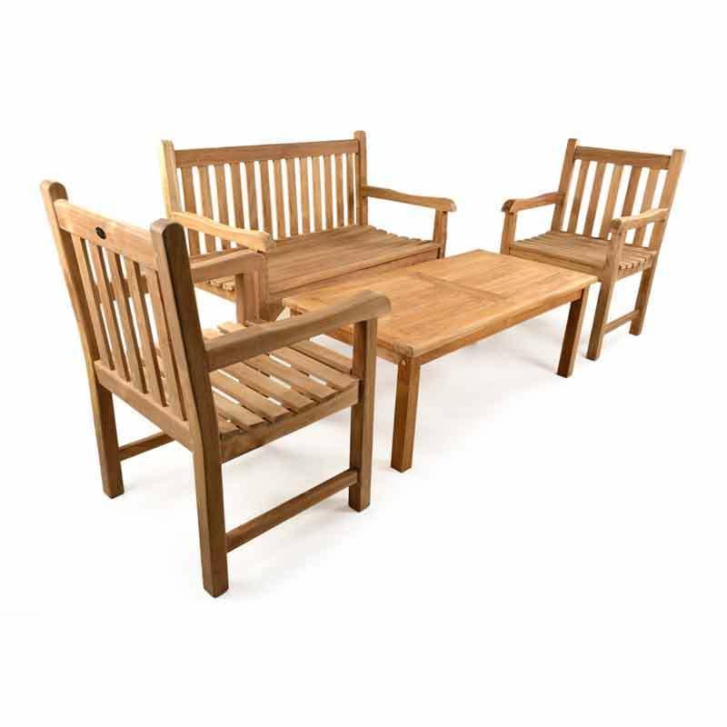 Teak Garden Coffee table Bench Set - Homegenies