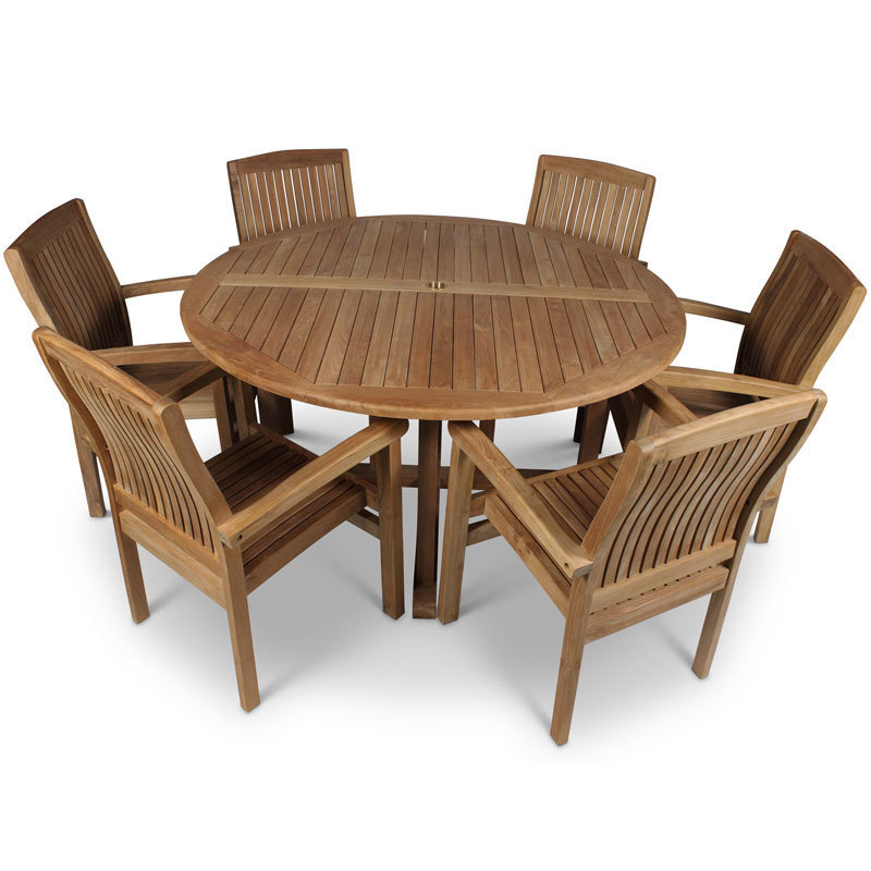 Round Table And Chairs For 6: Round Teak Garden Table And 6 Chairs