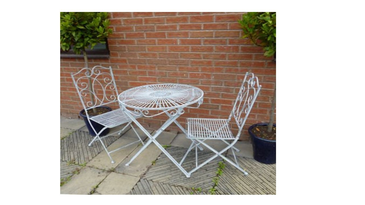 Antique Grey Vintage Garden Bistro Table And 2 Chairs