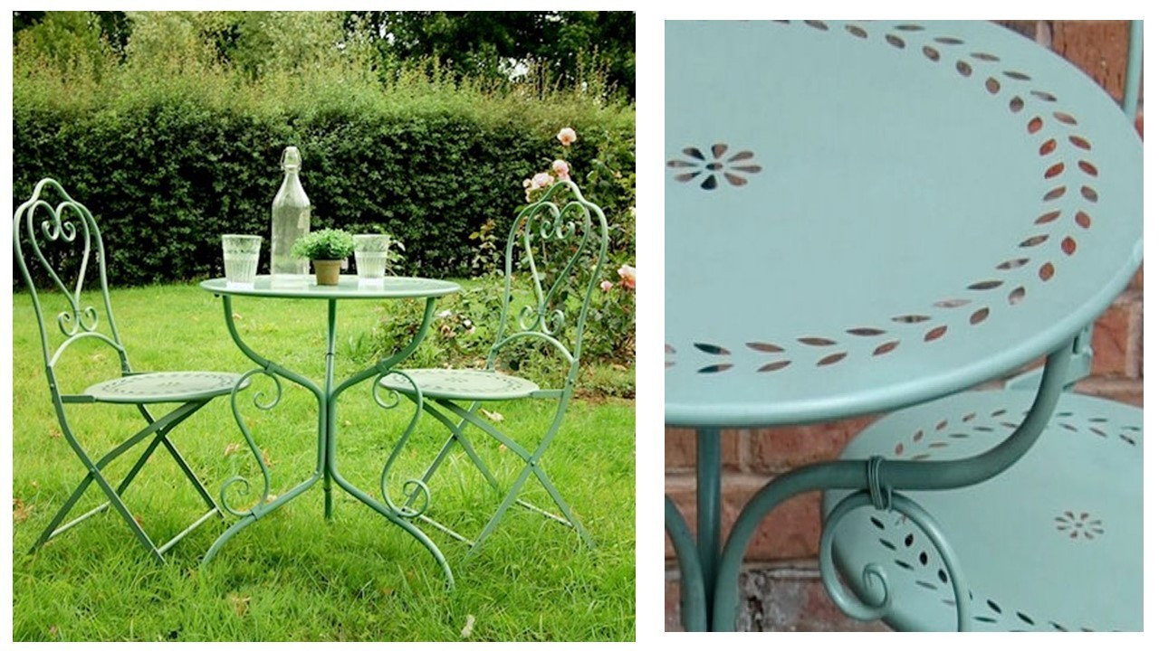 Pale green metal garden table and chairs bistro set for Metal garden table and chairs