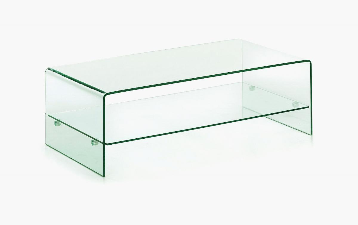 Clear Glass Coffee Table With Shelf Homegenies