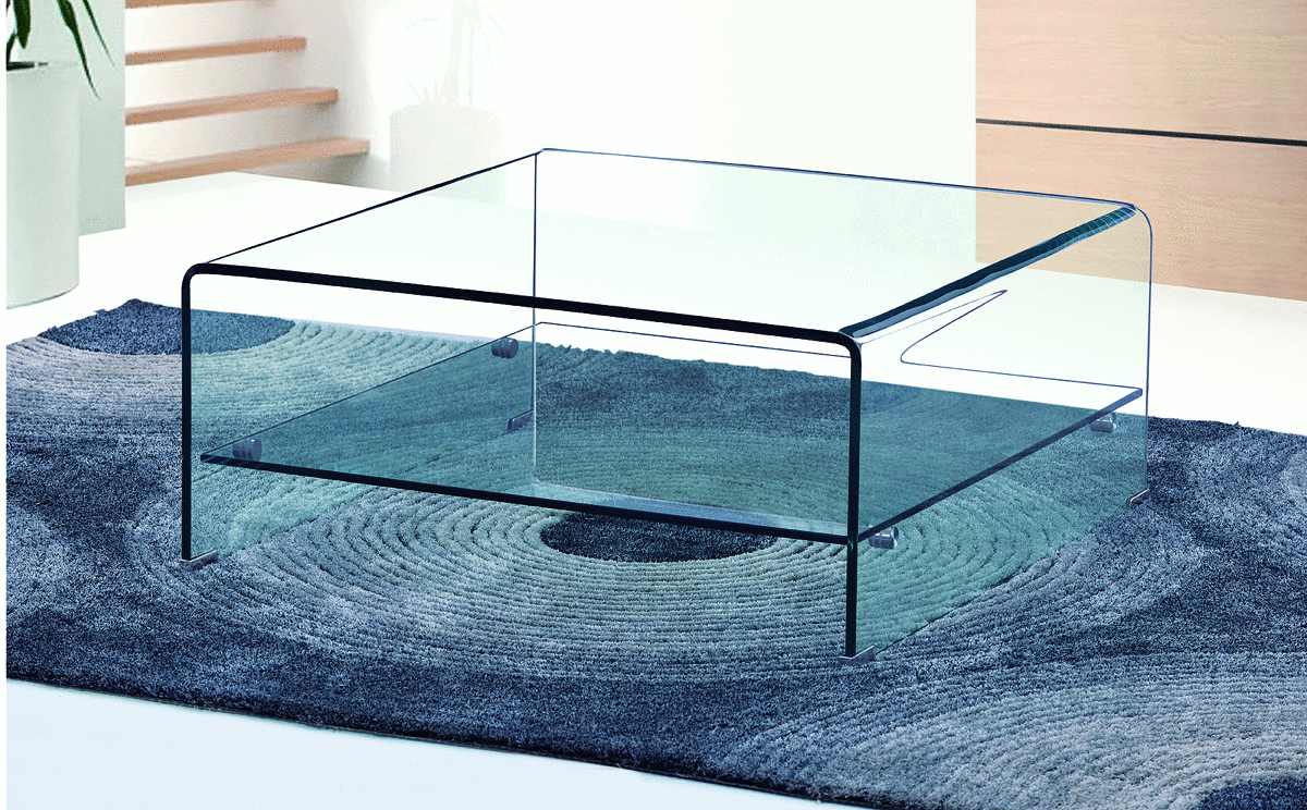 Square Curved Clear Glass Coffee Table With Shelf ...