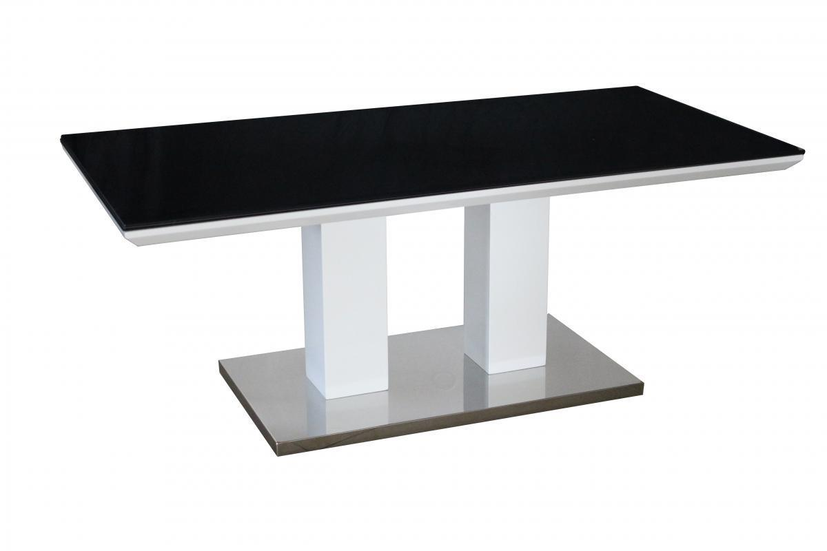 Coffee table in black glass and white high gloss homegenies for White and glass coffee table