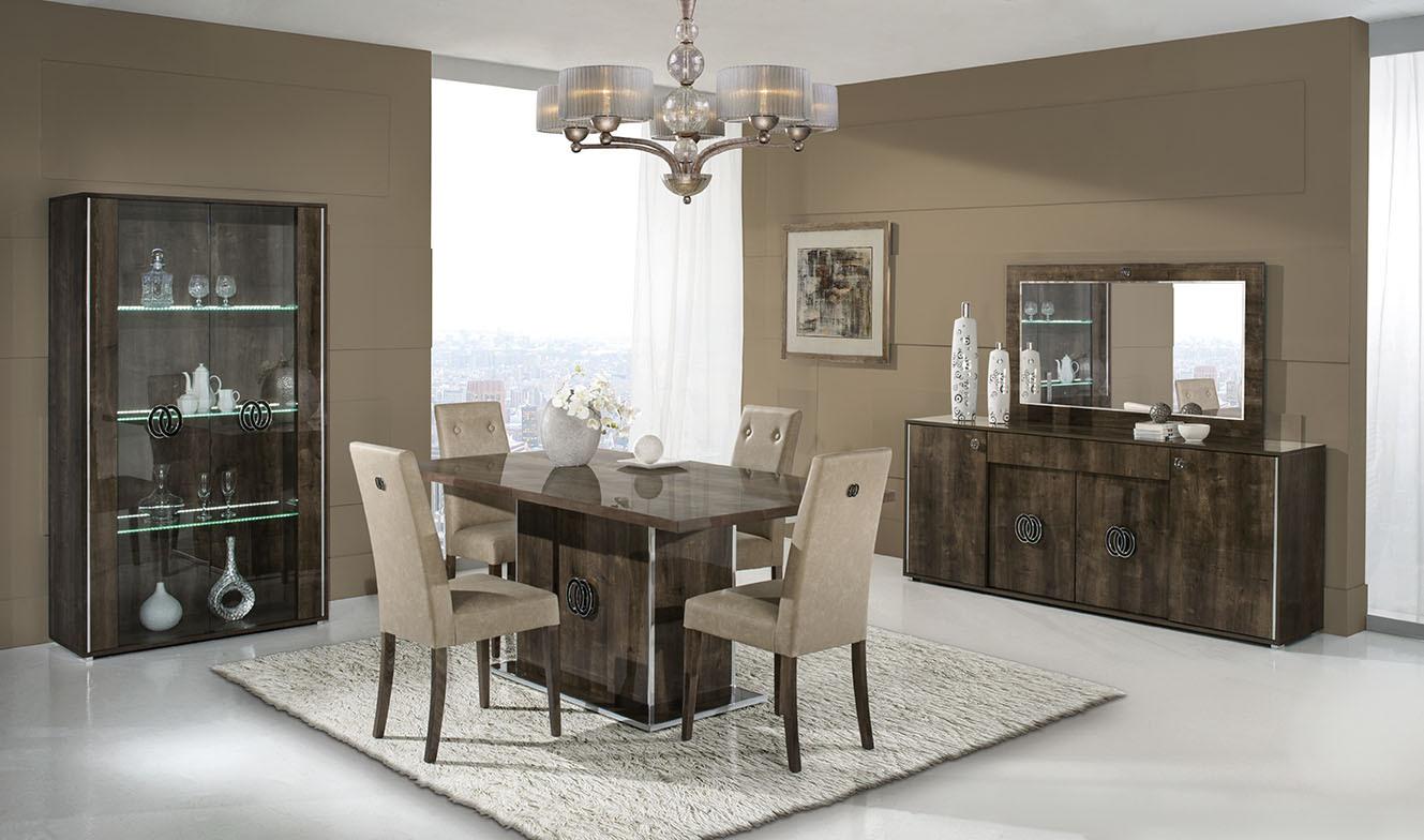 Italian walnut high gloss dining room furniture set for Walnut furniture living room