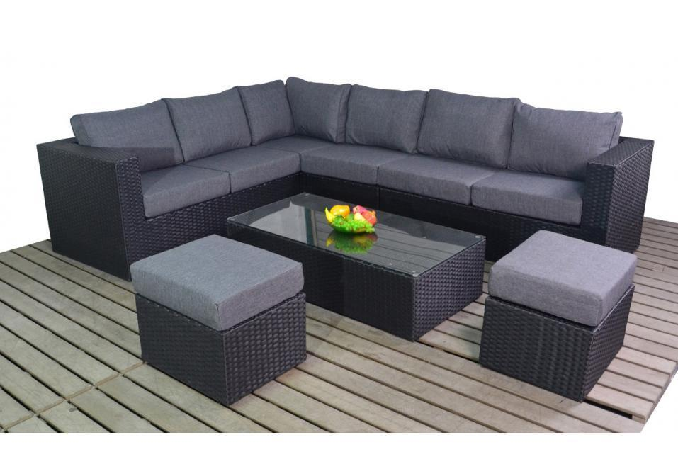 prestige left black rattan large corner sofa set homegenies. Black Bedroom Furniture Sets. Home Design Ideas