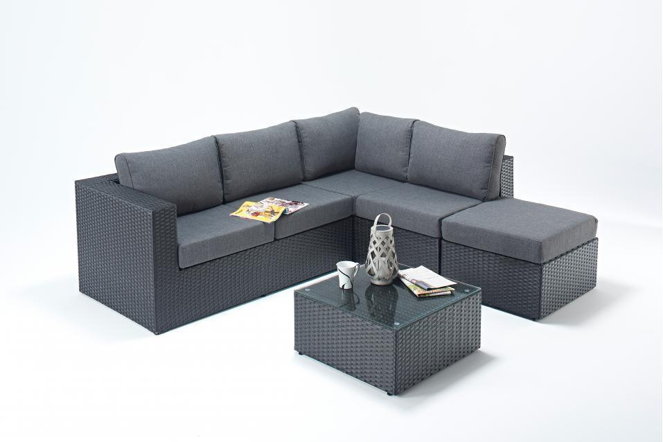Small Prestige Black Right Rattan Corner Sofa Set Homegenies
