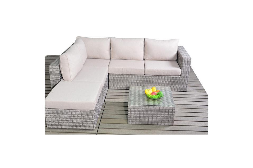 Small Rustic Rattan Corner Sofa Homegenies