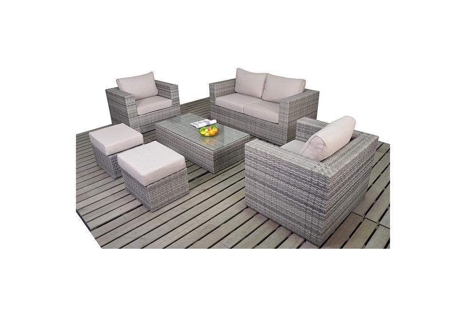 Rustic Small Grey Rattan Sofa Set Homegenies