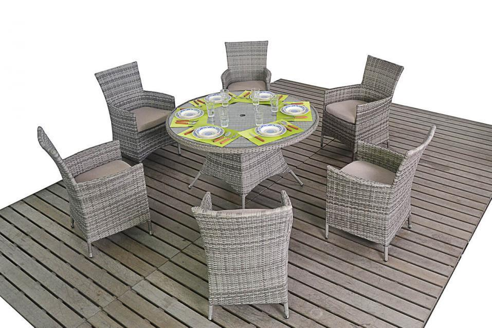 Round Rustic rattan table and 6 chairs set - Homegenies