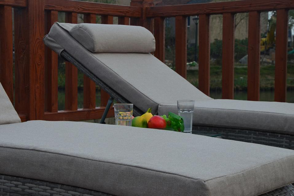 Rustic Grey Rattan Sun Loungers And Table Homegenies