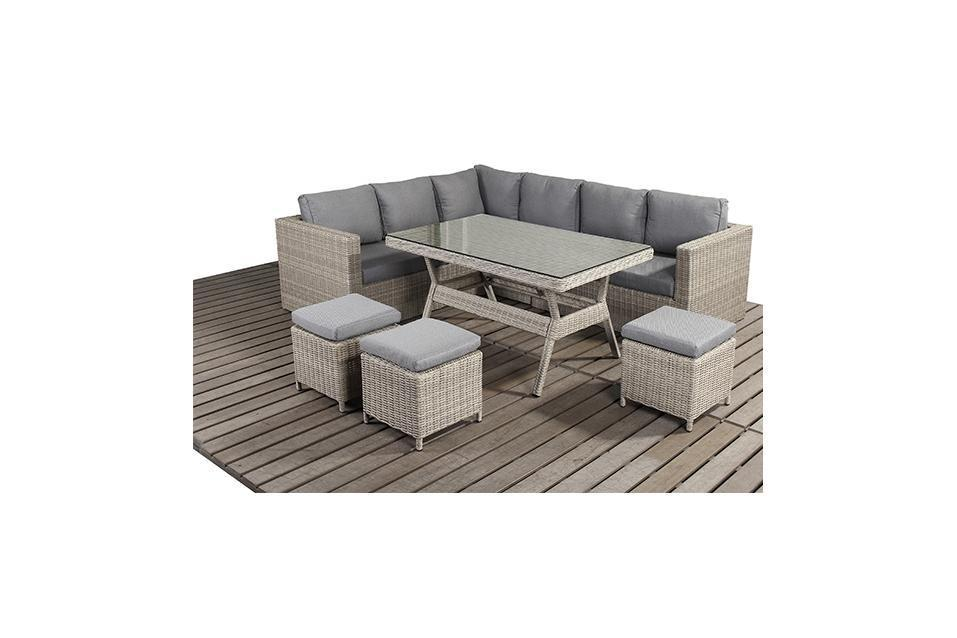 Rural Left Rattan Corner Sofa And Dining Table Set Homegenies