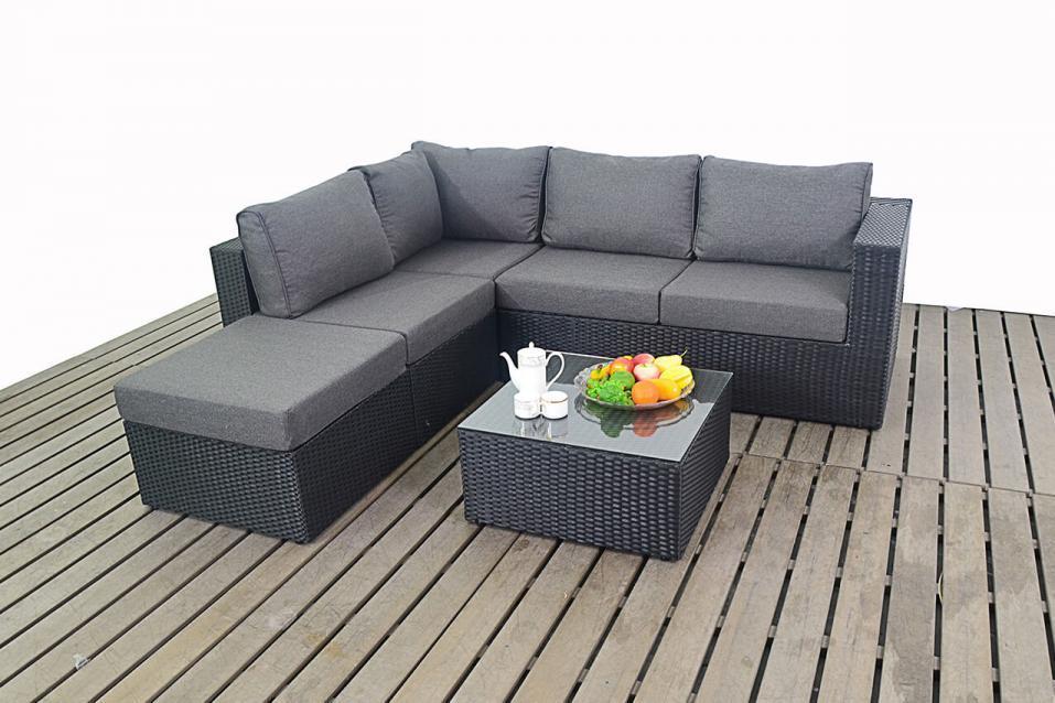 Prestige Left Black Rattan Small Corner Sofa Homegenies