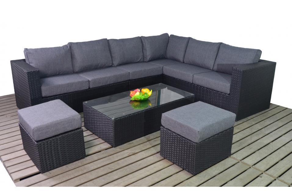 Prestige Right Large Black Rattan Large Corner Sofa