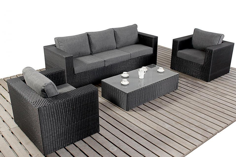 Prestige Black Rattan Large Rattan Sofa Set Homegenies