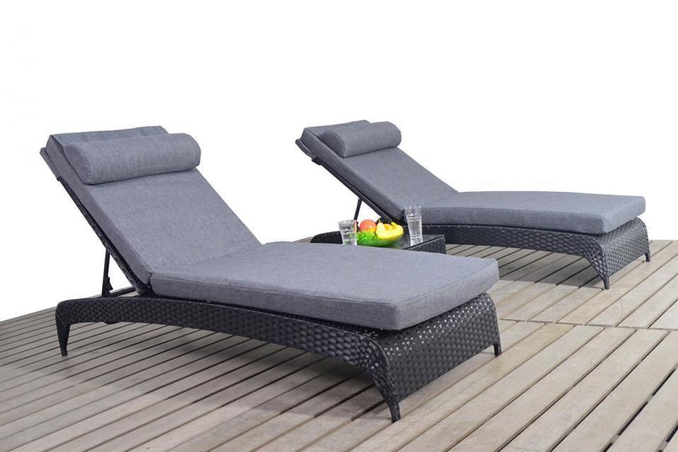 Prestige Black Rattan Lounger With Side Table Set Homegenies