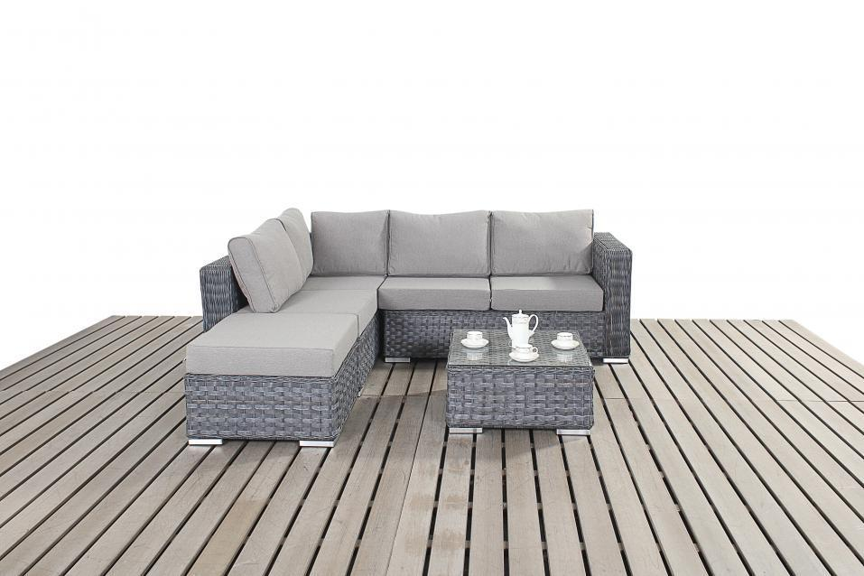 Small Grey Rattan Corner Sofa Homegenies