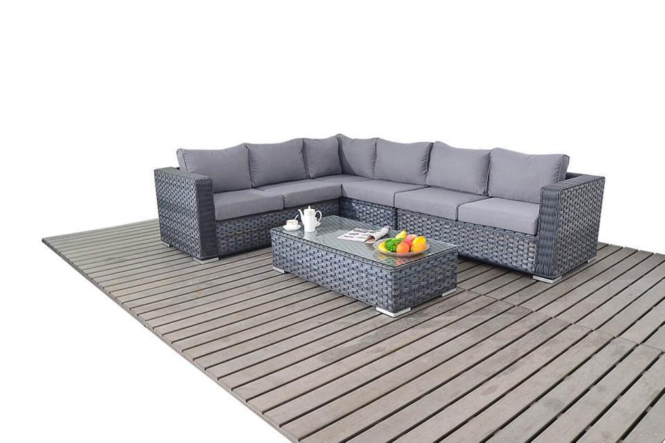 platinum large left grey rattan corner sofa set homegenies. Black Bedroom Furniture Sets. Home Design Ideas