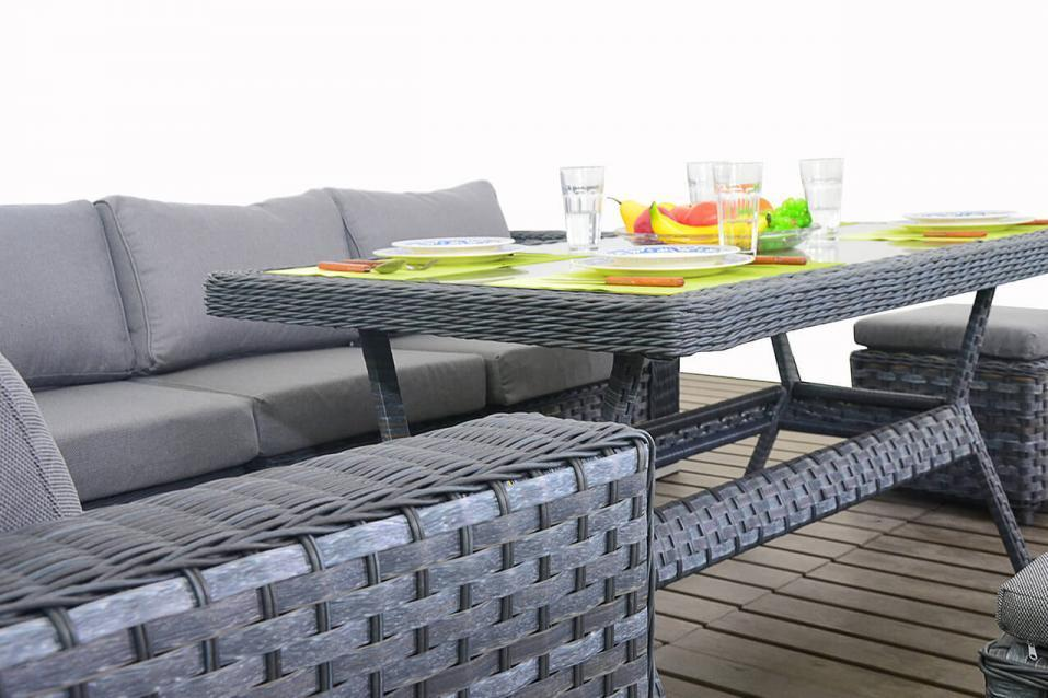 Platinum Grey Rattan Corner Sofa With Dining Table