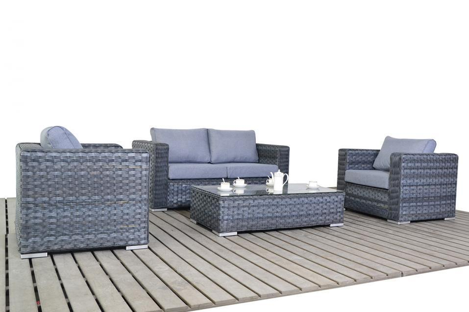 Platinum Small Rattan Sofa set with Coffee Table & Armchairs
