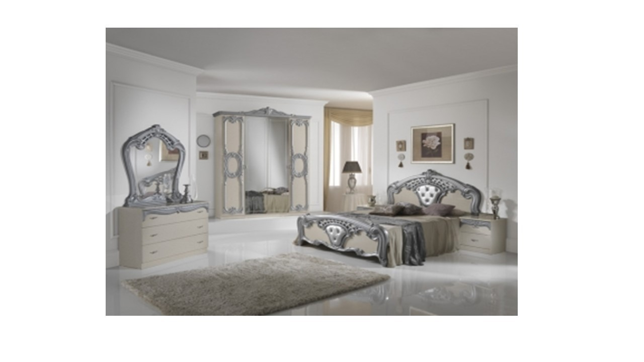 High gloss beige silver italian bedroom furniture for High gloss bedroom furniture