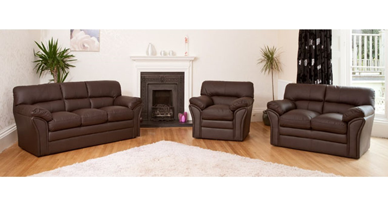 Leather Sofa In Brown Black Or Cream Homegenies