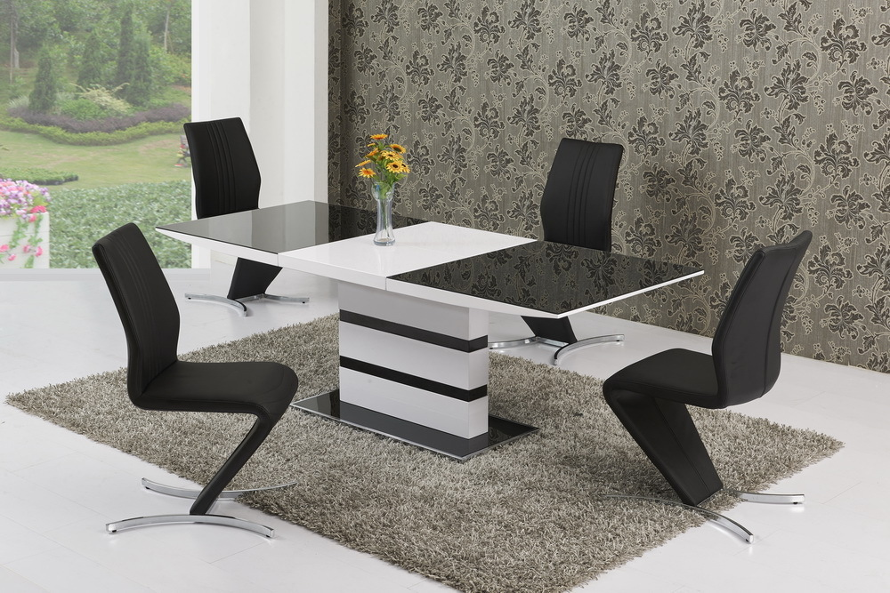 220cm Extending Black Glass White Gloss Dining Table And 6