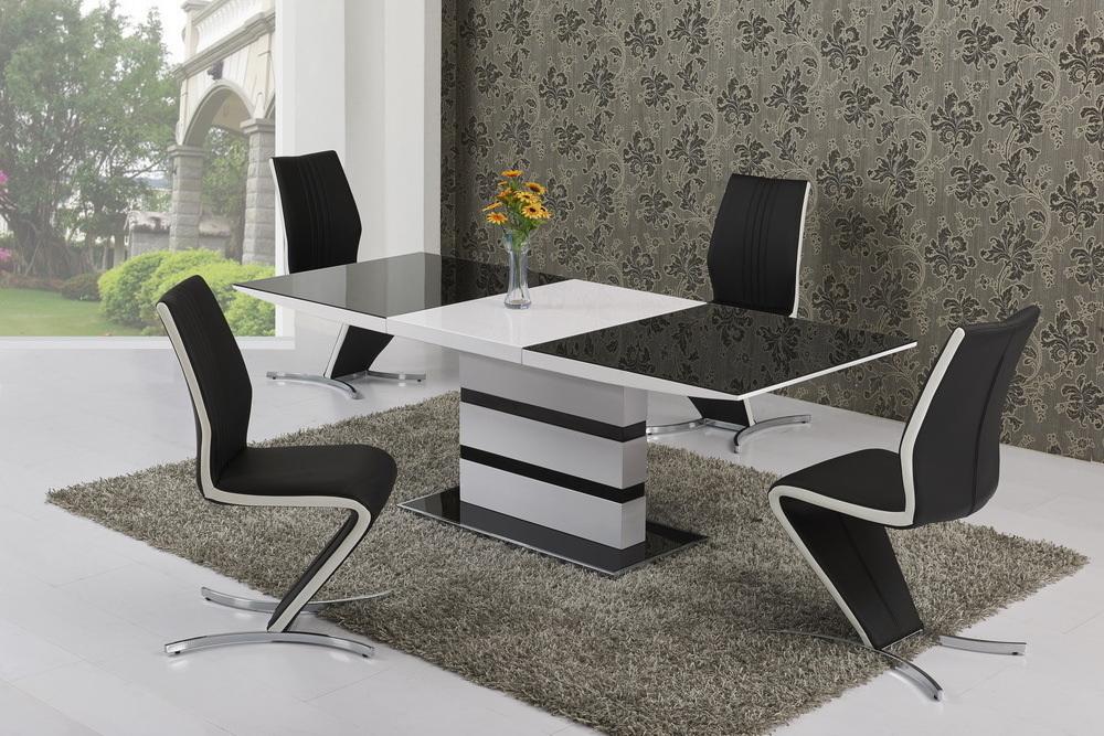 white high gloss dining table and 6 black with white stripe