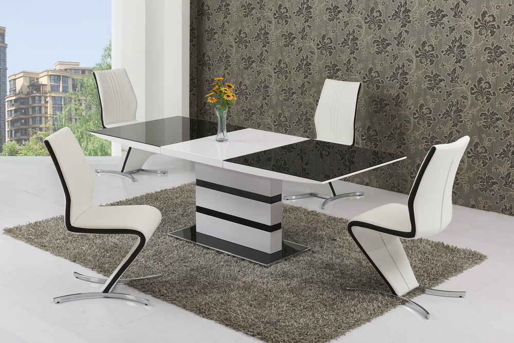 Small Glass White High Gloss Extendable Dining Table And 4 Chairs Set EBay